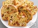 Рецепта Солен кекс с босилеково песто, шунка и сушени домати